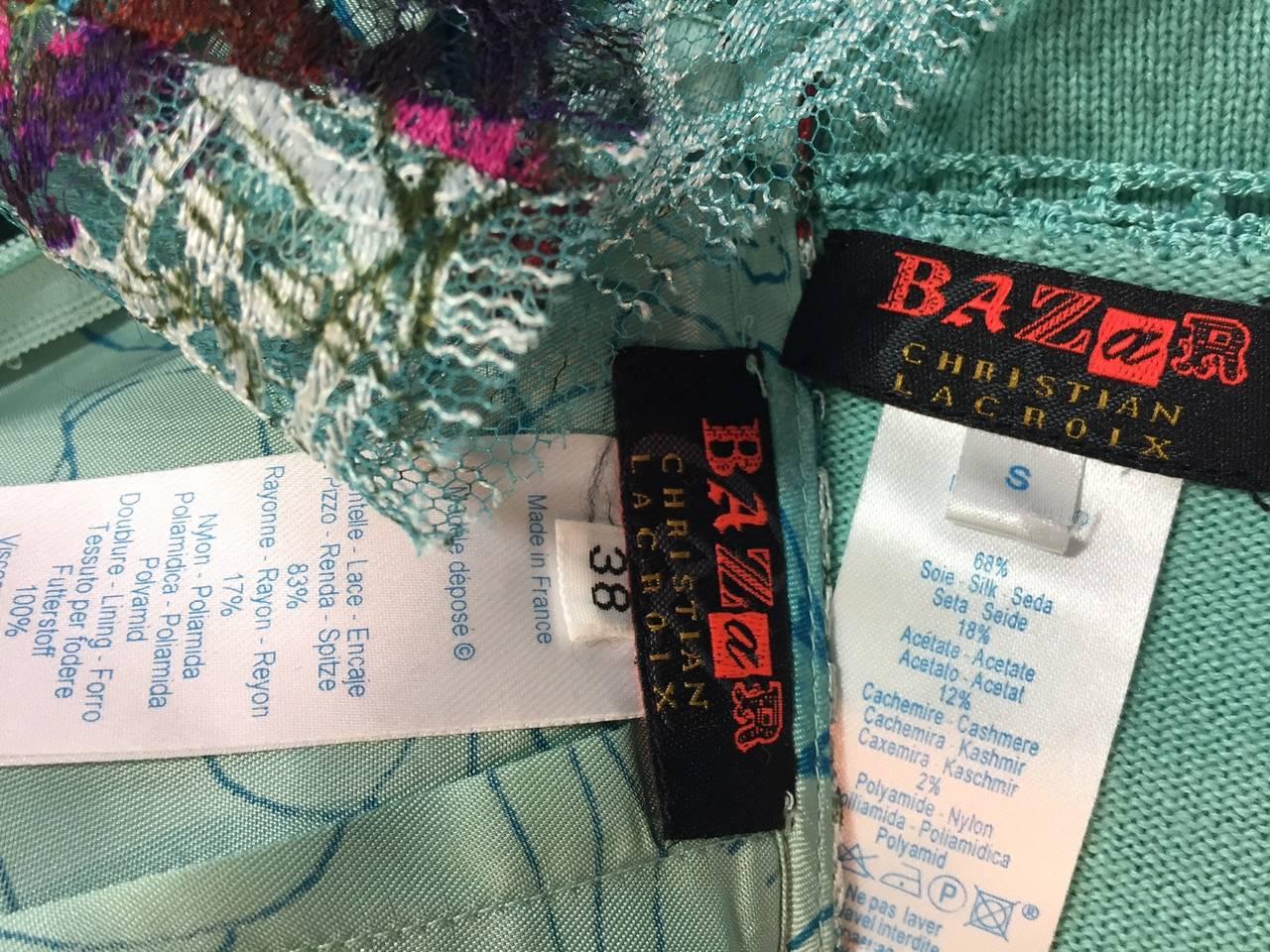 1990s Christian Lacroix Bazaar 2-Piece Sweater and Lace Skirt Ensemble 7