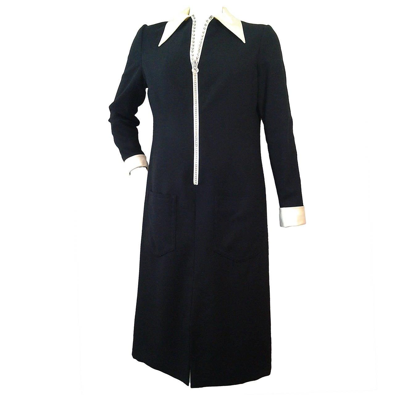 1960s Oscar de La Renta Wool Crepe Tuxedo Shirtdress w/ Rhinestone Zipper 1