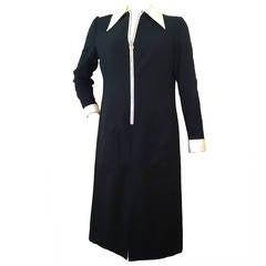 1960s Oscar de La Renta Wool Crepe Tuxedo Shirtdress w/ Rhinestone Zipper