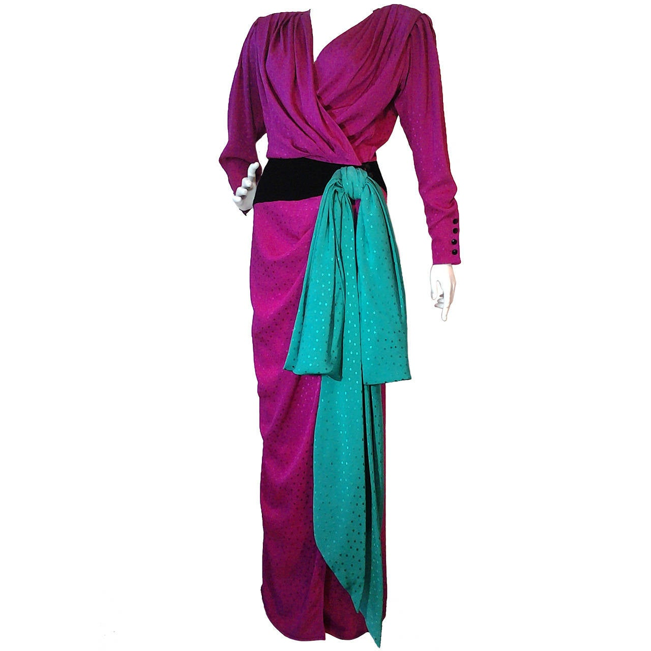 1980s Emanuel Ungaro Fuchsia and Emerald Silk Wrap Evening Gown For Sale