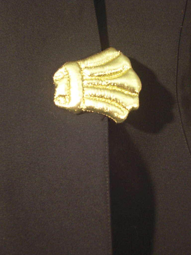 1980s Thierry Mugler Black Gaberdine Jacket with Gold Fabric Shell Embellishment 5