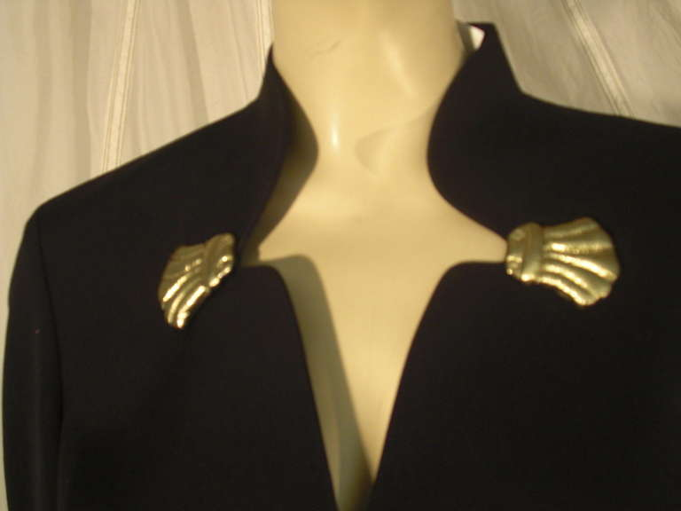 1980s Thierry Mugler Black Gaberdine Jacket with Gold Fabric Shell Embellishment 6