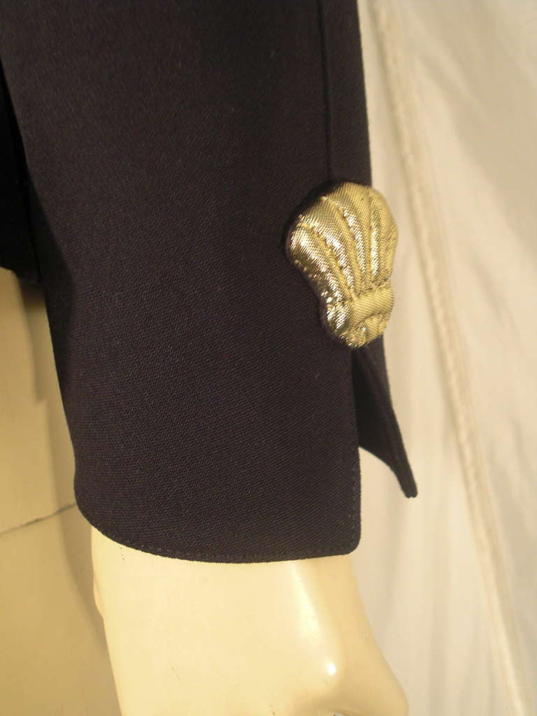 1980s Thierry Mugler Black Gaberdine Jacket with Gold Fabric Shell Embellishment For Sale 4