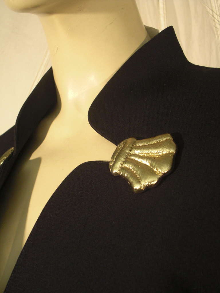 1980s Thierry Mugler Black Gaberdine Jacket with Gold Fabric Shell Embellishment 8