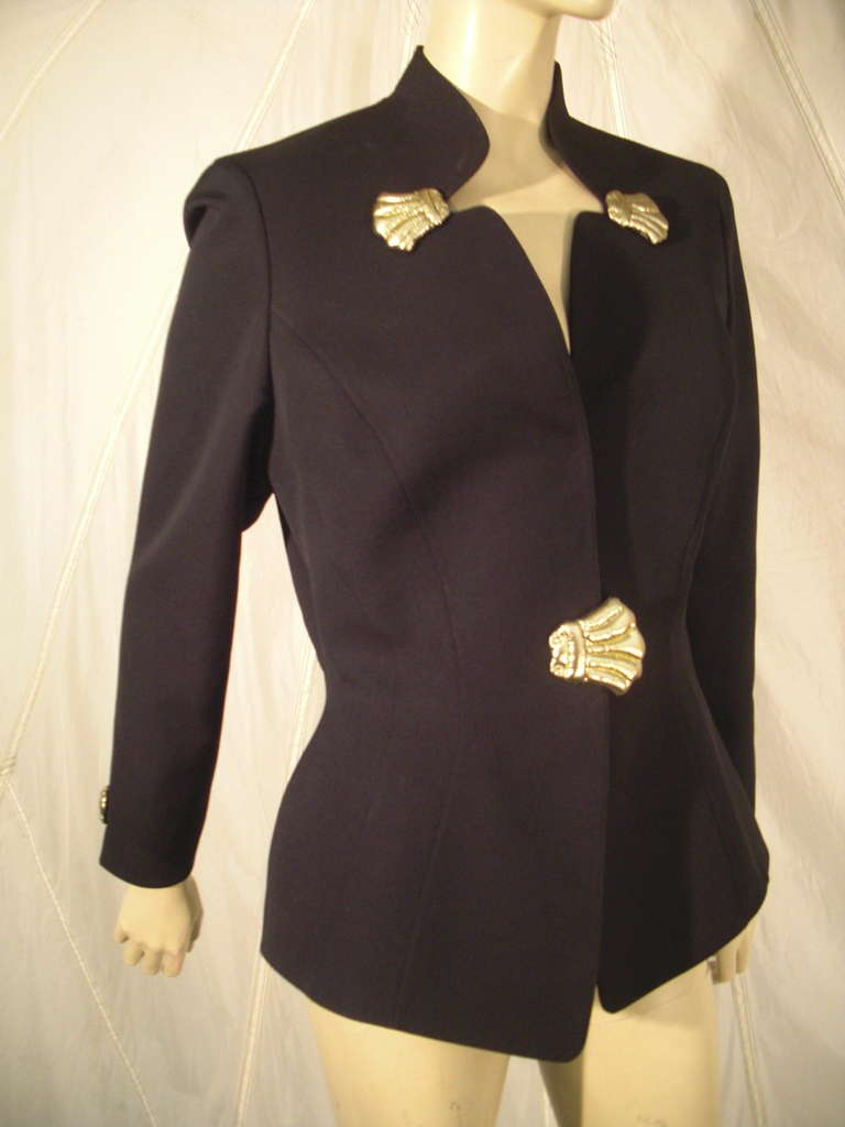 Women's 1980s Thierry Mugler Black Gaberdine Jacket with Gold Fabric Shell Embellishment For Sale