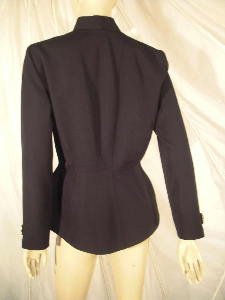 1980s Thierry Mugler Black Gaberdine Jacket with Gold Fabric Shell Embellishment For Sale 1
