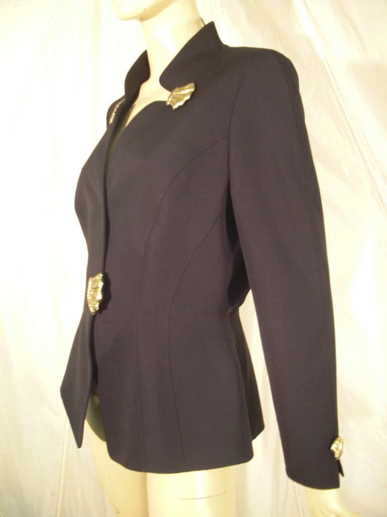 1980s Thierry Mugler Black Gaberdine Jacket with Gold Fabric Shell Embellishment 2