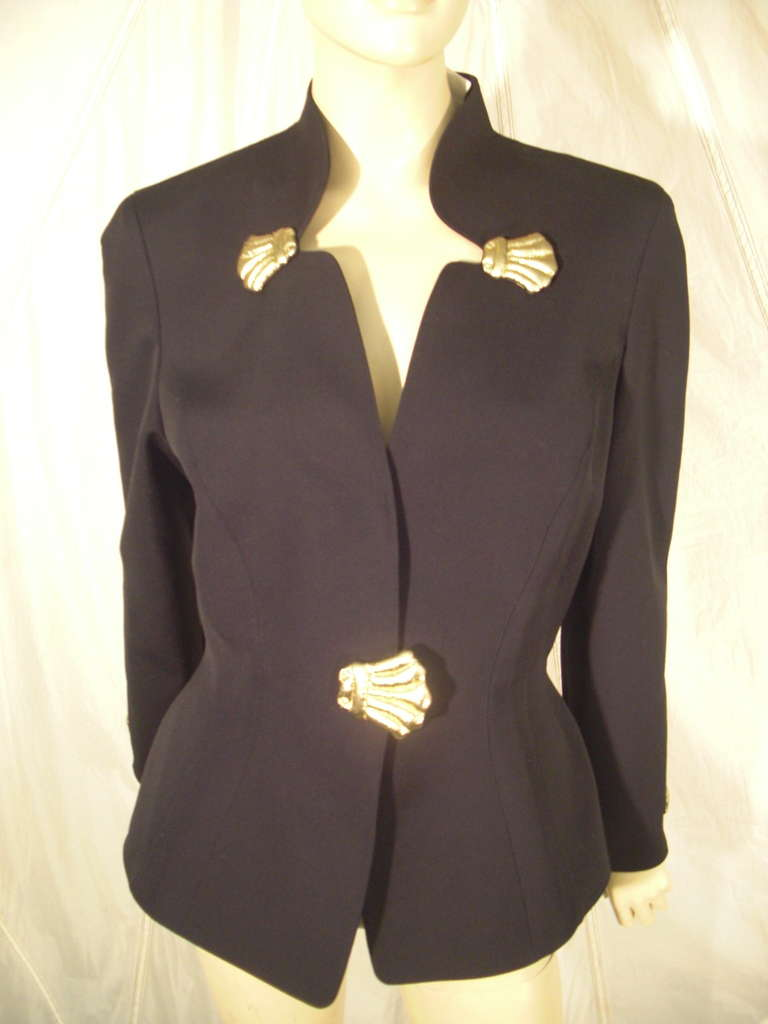1980s Thierry Mugler Black Gaberdine Jacket with Gold Fabric Shell Embellishment For Sale 6