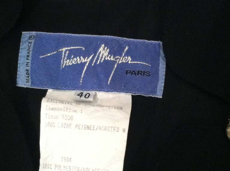 1980s Thierry Mugler Black Gaberdine Jacket with Gold Fabric Shell Embellishment 10