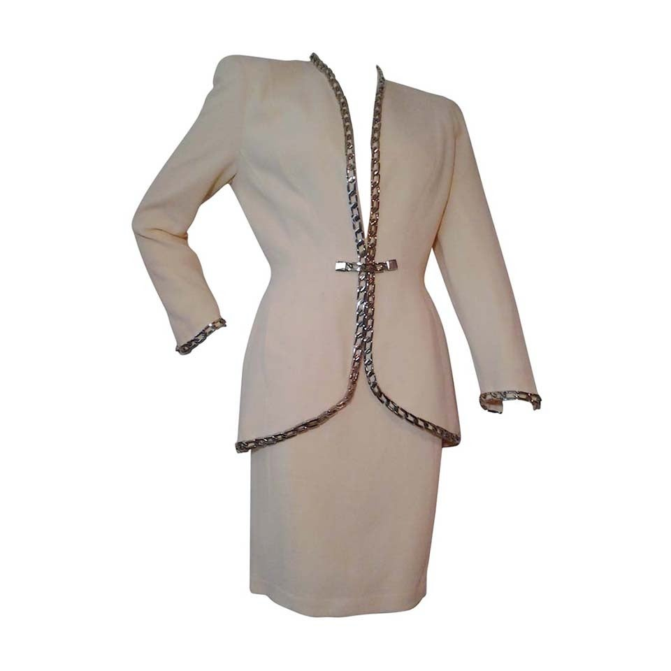 1980s Thierry Mugler Cream Wool Novelty Crepe Suit with ...
