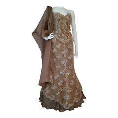 1980s Vicky Tiel Couture Cappuccino Lace Gown w/ Sequin Applique
