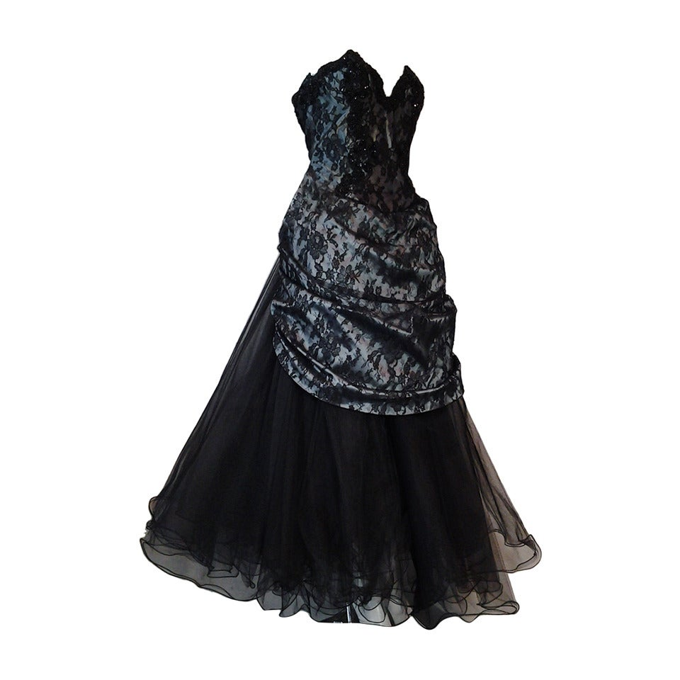 "1980s Vicky Tiel Couture ""Giselle"" Beaded Black Lace / Steel Blue Satin Gown For Sale"