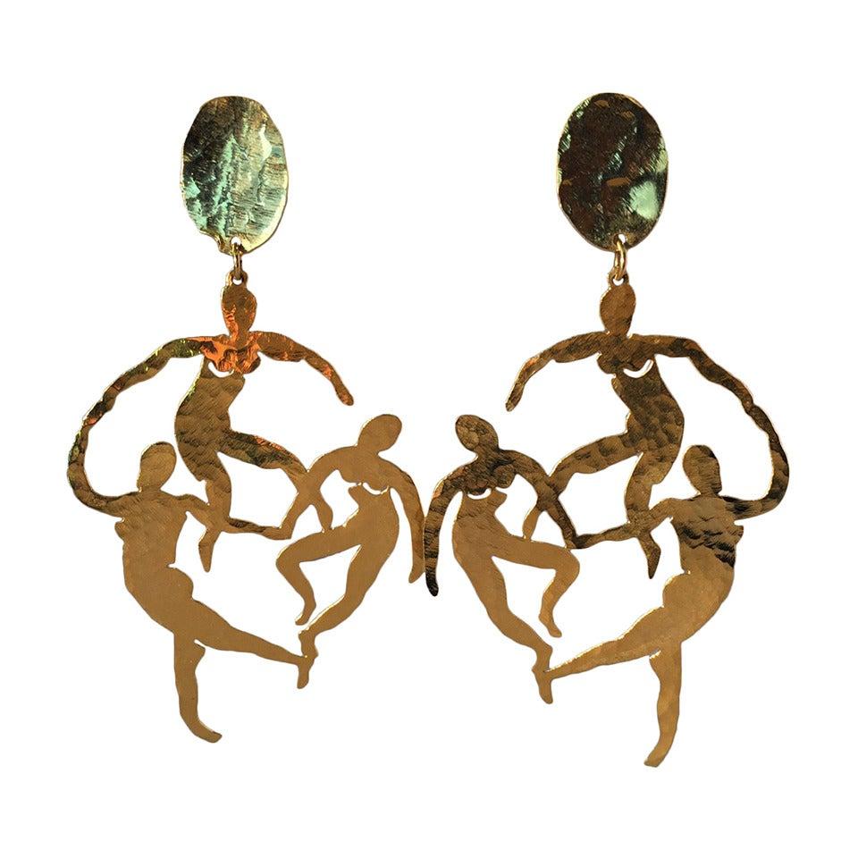 Patrick Retif Vermeil Matisse-Inspired Dancing Figures Chandelier Earrings 1