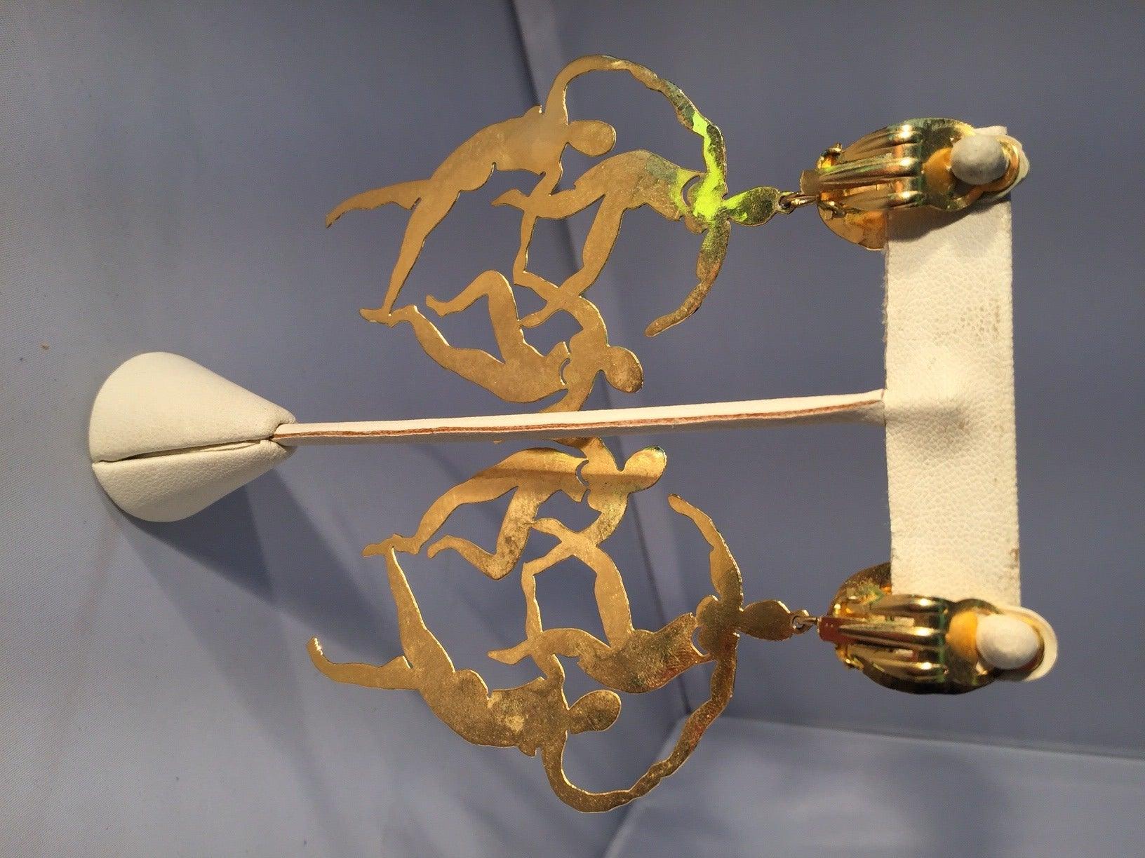 Patrick Retif Vermeil Matisse-Inspired Dancing Figures Chandelier Earrings 3