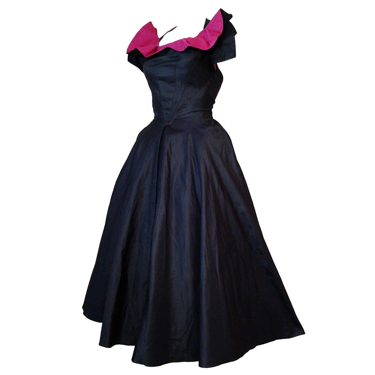 1950s Navy And Fuchsia Taffeta And Faille Dress W