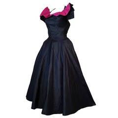 1950s Navy and Fuchsia Taffeta and Faille Dress w/ Crinoline