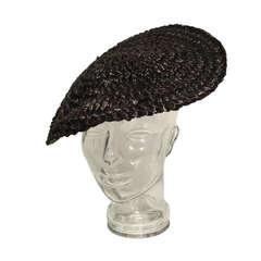 1950s Sally Victor Black Straw Tilt Hat