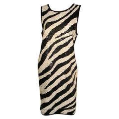 1980s Adrienne Vittadini Zebra Sequined Jersey Shift