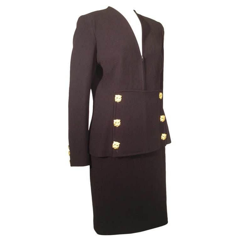 1990s Valentino Skirt Suit with Front Zippered Jacket and Panther Buttons