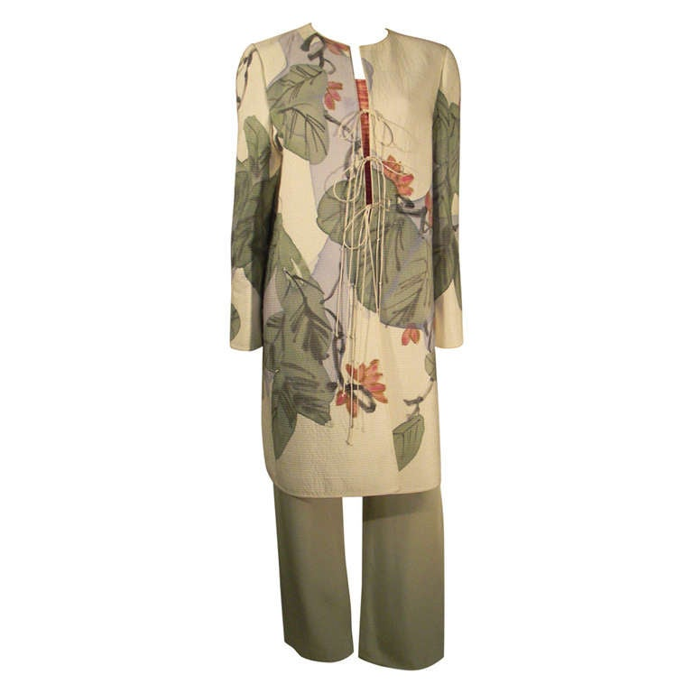 Mary McFadden Hand-Painted Quilted Silk Long Jacket Ensemble