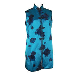 1950s Turquoise Floral Silk Satin Vest w/ Chinese Styling