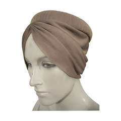 1950s Dove Grey Silk Jersey Turban Style Hat - New Old Stock