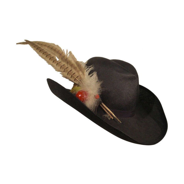 1970s Adolfo II Navy Straw Western Hat with Pheasant Trimming