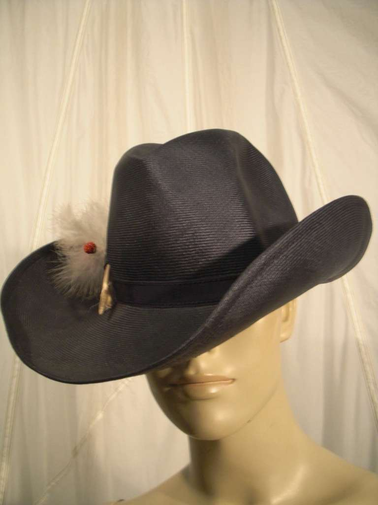 Black 1970s Adolfo II Navy Straw Western Hat with Pheasant Trimming For Sale