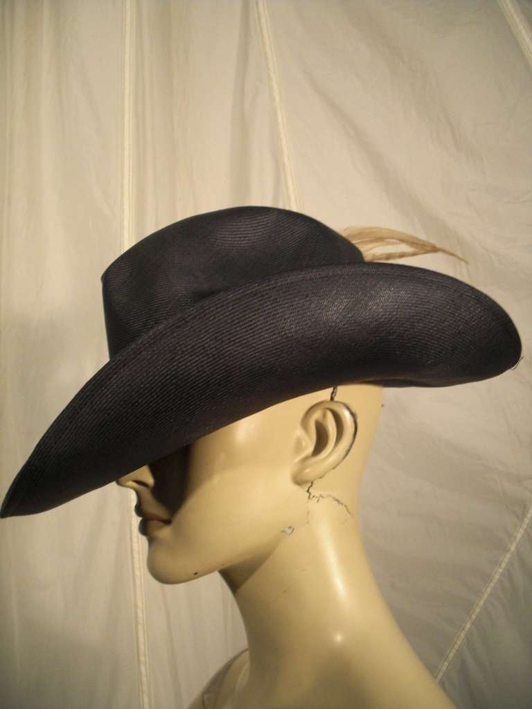 1970s Adolfo II Navy Straw Western Hat with Pheasant Trimming In Excellent Condition For Sale In San Francisco, CA
