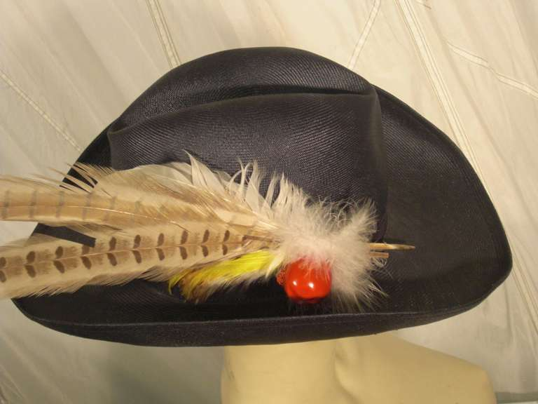 1970s Adolfo II Navy Straw Western Hat with Pheasant Trimming For Sale 1