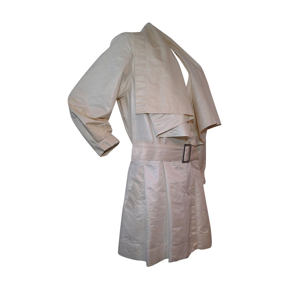 1980s Issey Miyake Waxed Cotton Trench Coat w/ Shawl Collar