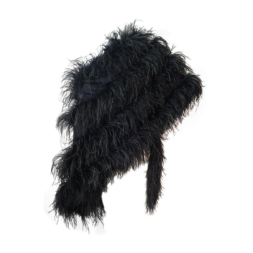 Extravagant Black Silk Charmeuse and Ostrich Feather Wrap 1