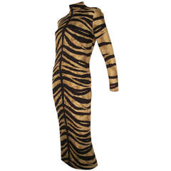 1970s La Mendola Silk Jersey Tiger Print Dress