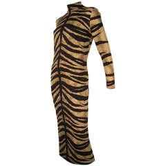 1970s La Mendola Silk Jersey Tiger Print Dress