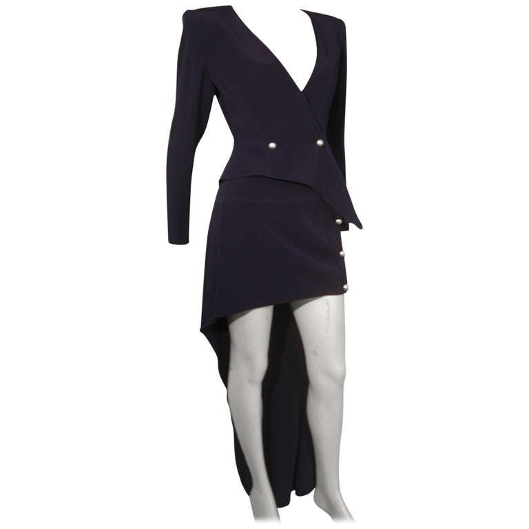 """1990s Claude Montana Navy """"Hi-Low"""" Skirt Suit For Sale"""
