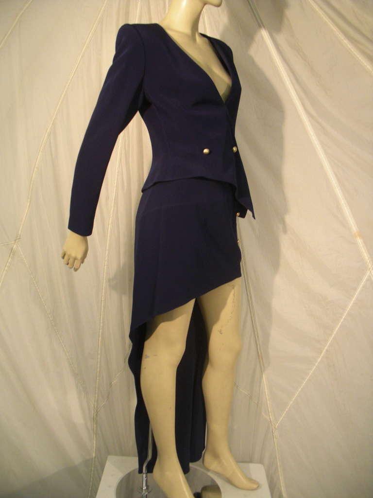"Black 1990s Claude Montana Navy ""Hi-Low"" Skirt Suit For Sale"