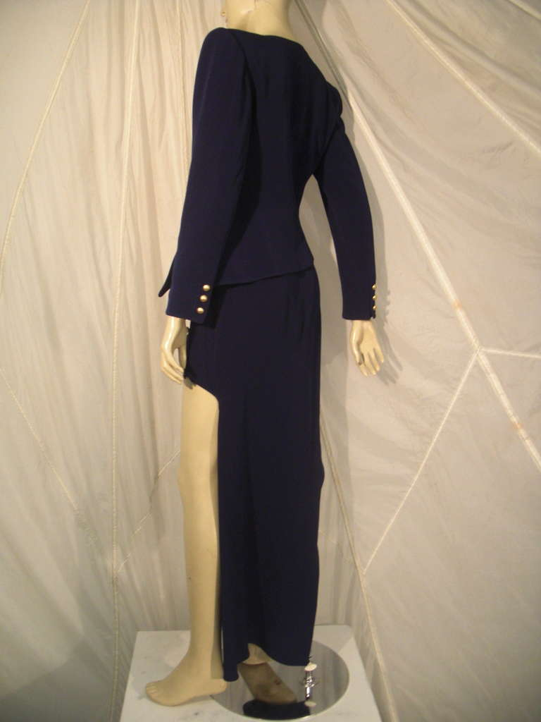 """1990s Claude Montana Navy """"Hi-Low"""" Skirt Suit In Excellent Condition For Sale In San Francisco, CA"""