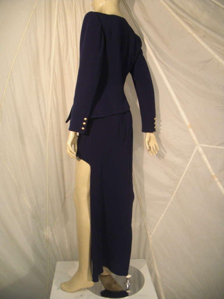 """1990s Claude Montana Navy """"Hi-Low"""" Skirt Suit 4"""