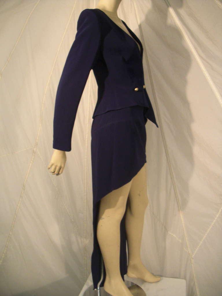 """Women's 1990s Claude Montana Navy """"Hi-Low"""" Skirt Suit For Sale"""