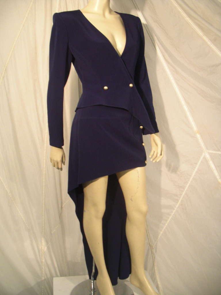 """1990s Claude Montana Navy """"Hi-Low"""" Skirt Suit For Sale 1"""