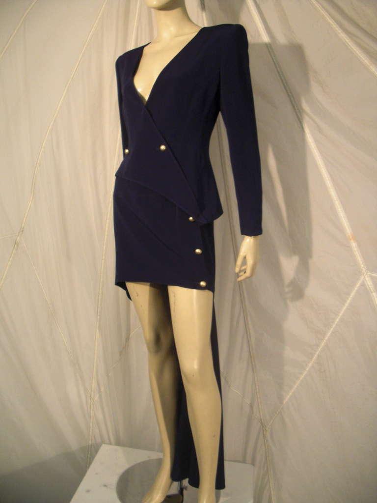 """1990s Claude Montana Navy """"Hi-Low"""" Skirt Suit For Sale 2"""