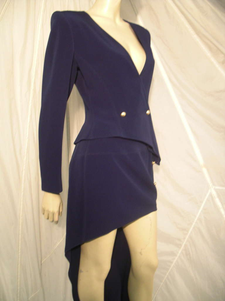 """1990s Claude Montana Navy """"Hi-Low"""" Skirt Suit For Sale 3"""