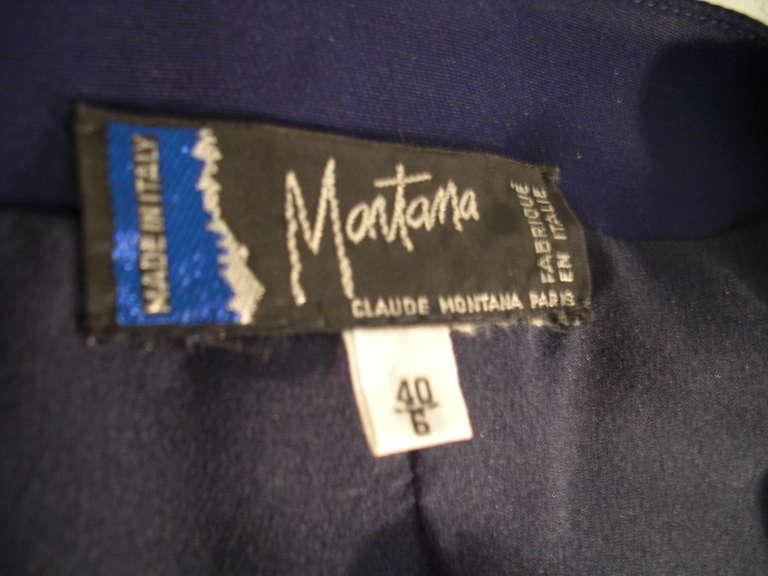 """1990s Claude Montana Navy """"Hi-Low"""" Skirt Suit For Sale 4"""