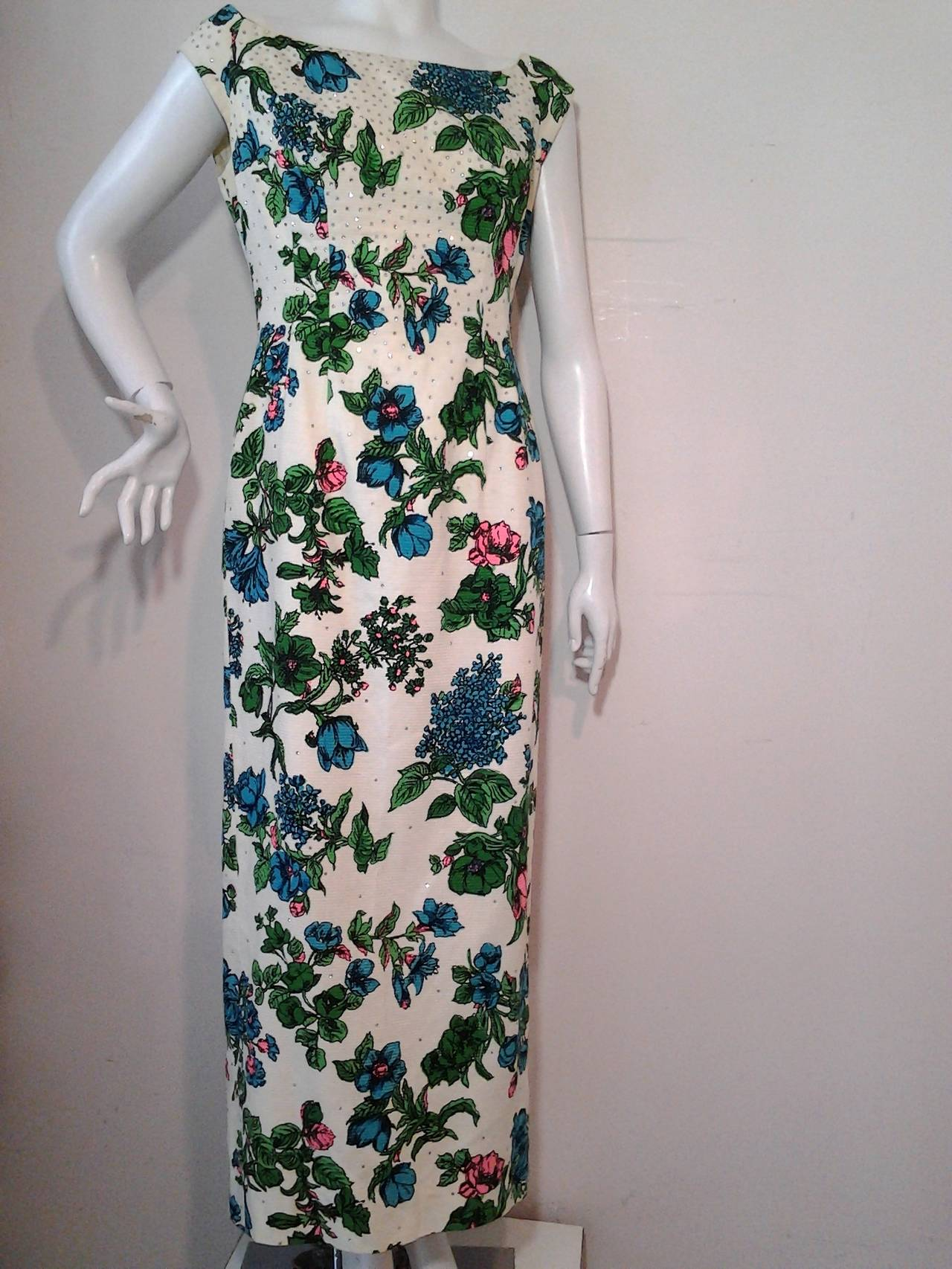 1960s Mr. Blackwell Floral Faille Gown with Rhinestones and Fishtail 10