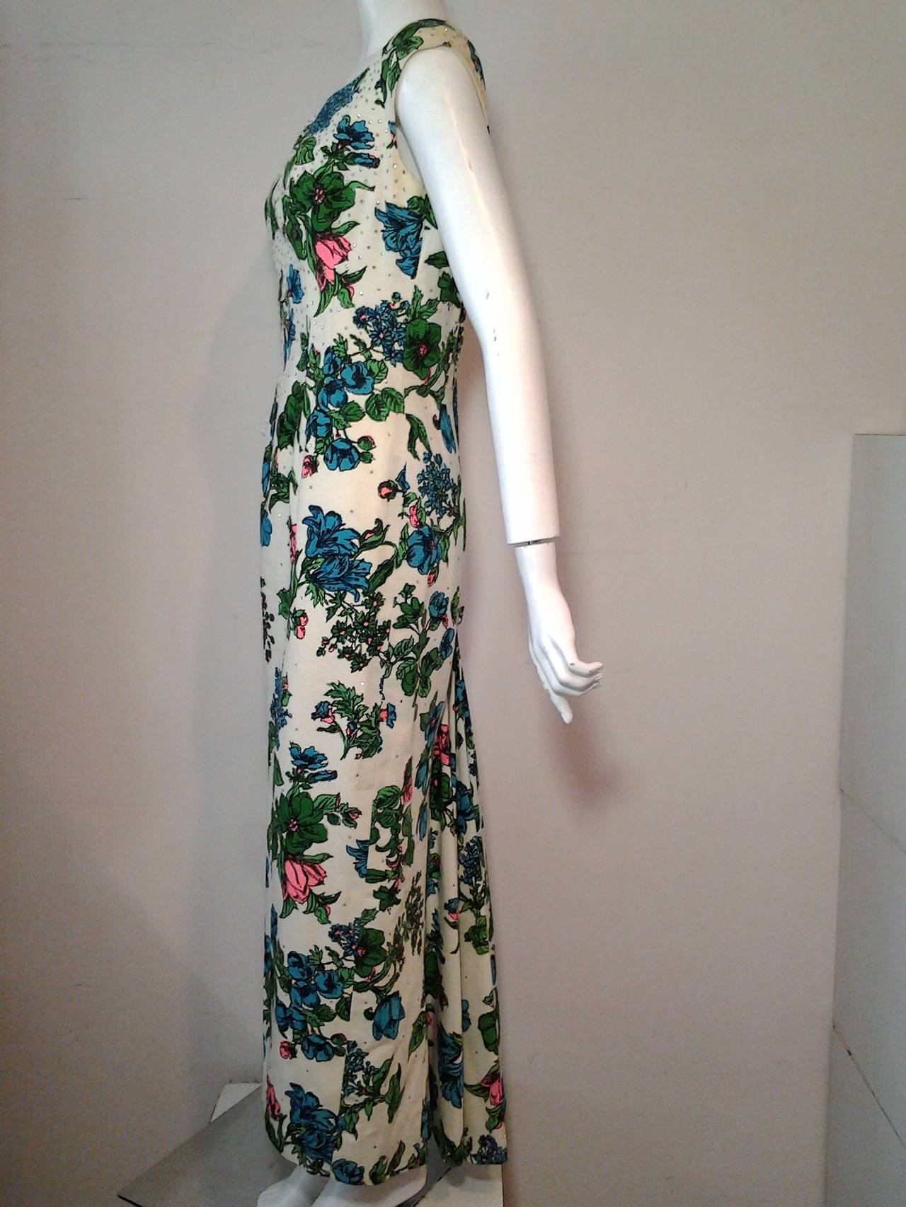 1960s Mr. Blackwell Floral Faille Gown with Rhinestones and Fishtail 3