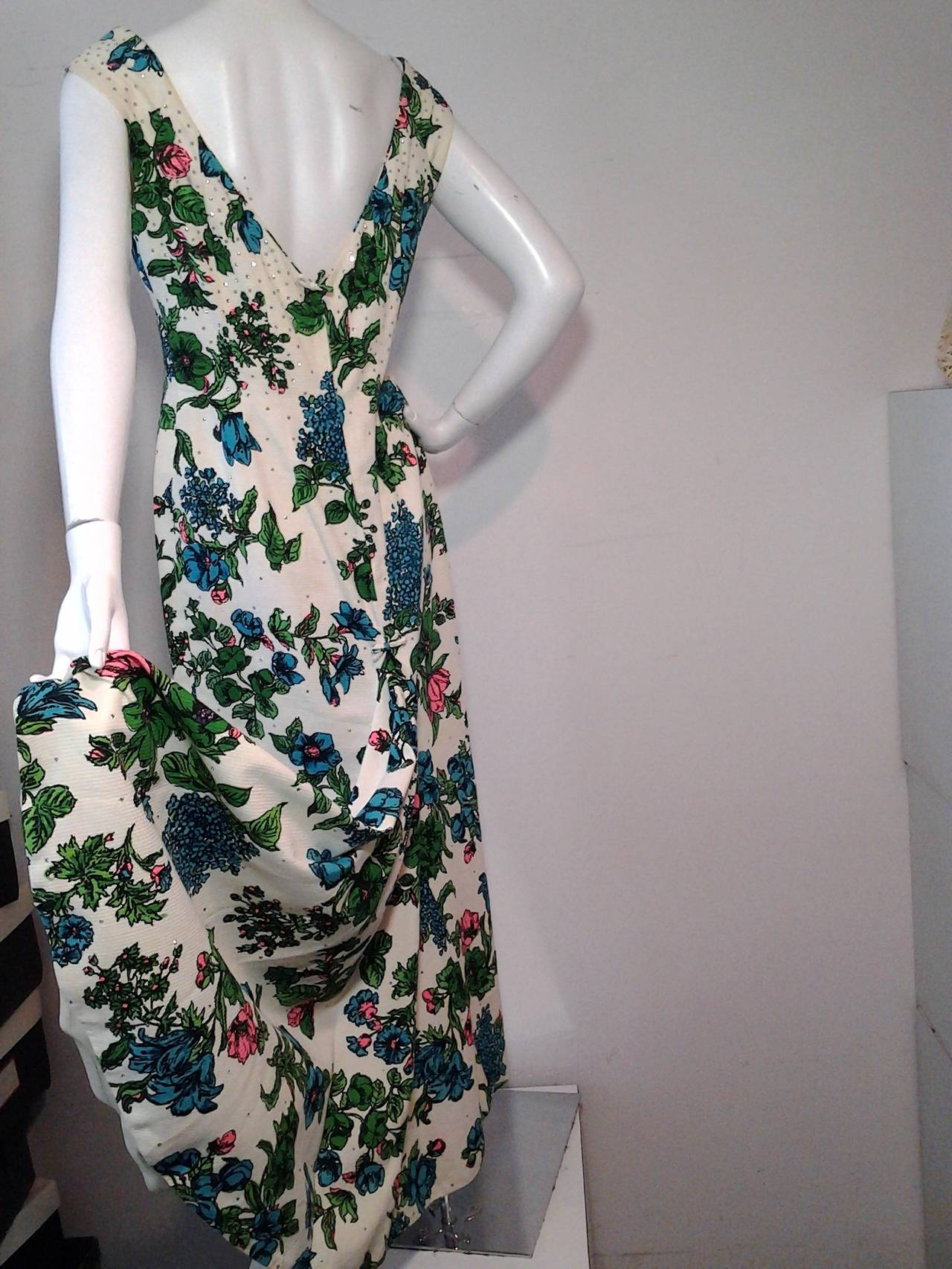 1960s Mr. Blackwell Floral Faille Gown with Rhinestones and Fishtail 9