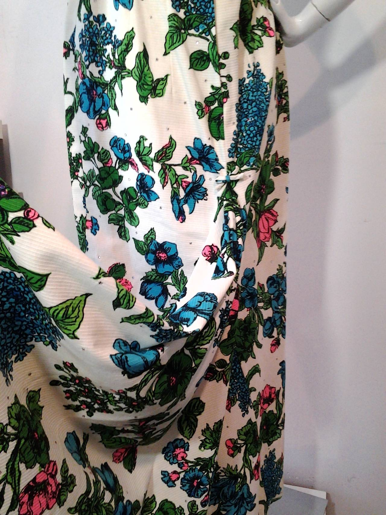 1960s Mr. Blackwell Floral Faille Gown with Rhinestones and Fishtail 8
