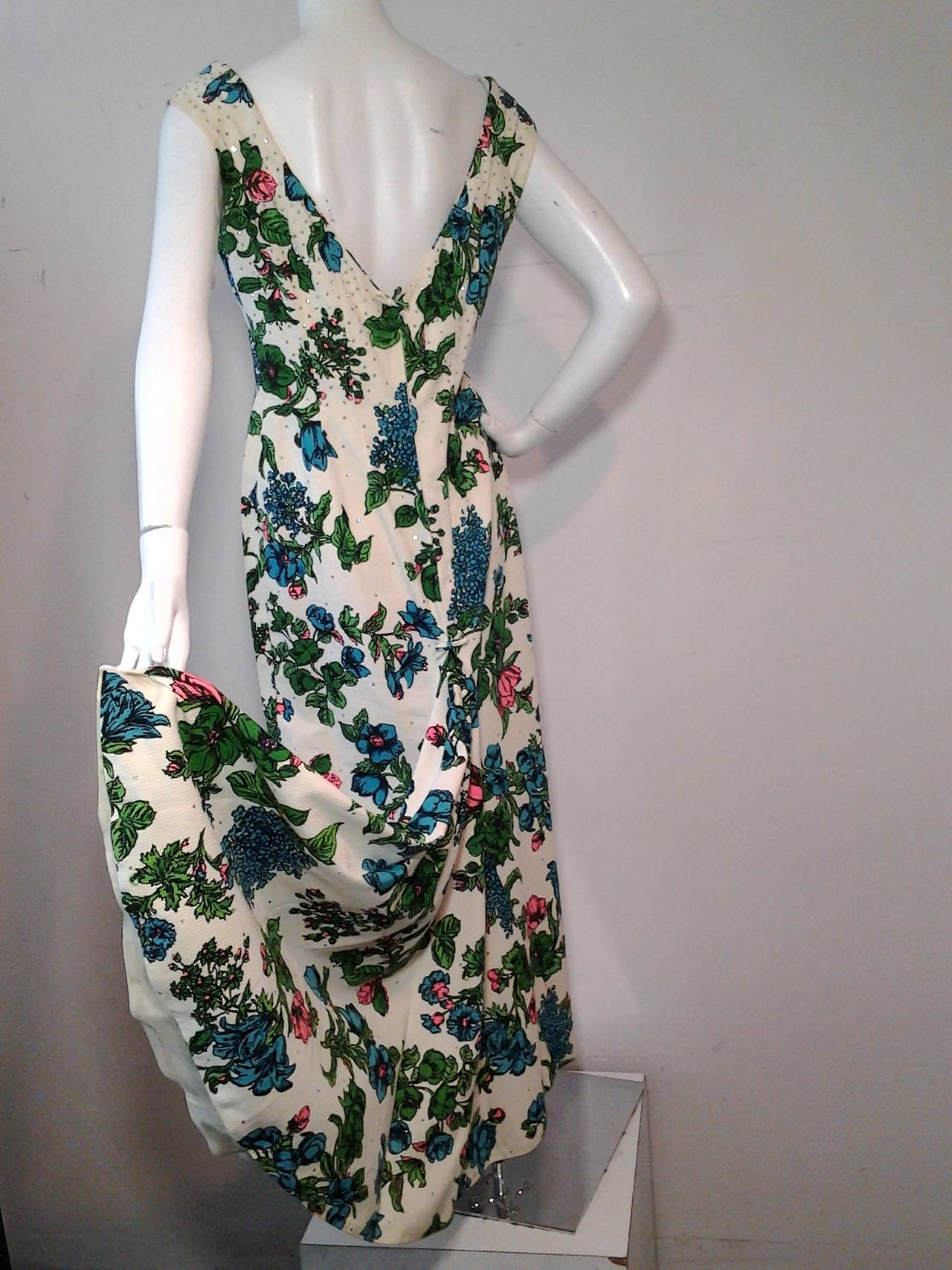 1960s Mr. Blackwell Floral Faille Gown with Rhinestones and Fishtail 2