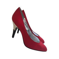 1980s Valentino Red Silk Satin Pumps with Black and Silver Rhinestone Heels