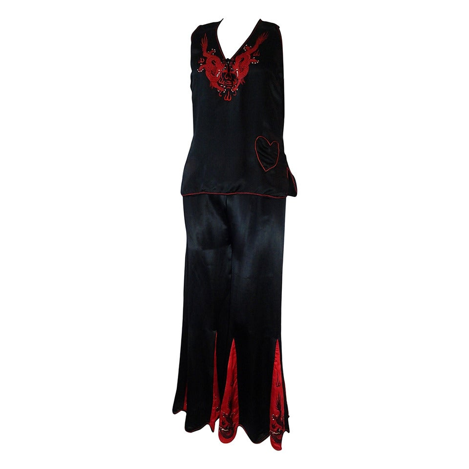 "1930s Red and Black Silk ""Shanghai"" Style Pajama Set w/ Dragon Embroidery"